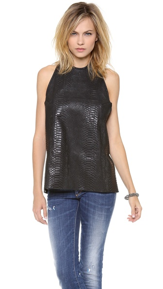 WINSTON WOLFE Vernita Leather Halter Top