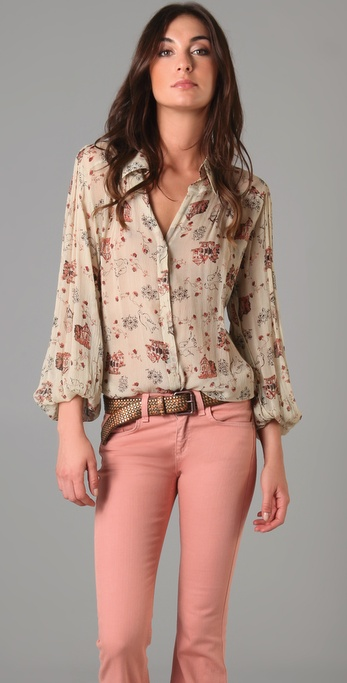 Winter Kate Tilapia Floral Bird Print Blouse