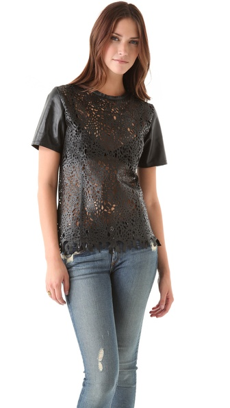 Winter Kate Laser Cut Leather Top