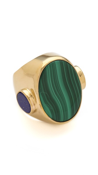 Wouters & Hendrix Malachite & Lapis Oval Ring