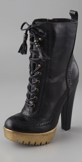 William Rast Perforated Lace Up Booties