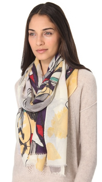 YARNZ Watercolor Birds Cashmere Scarf