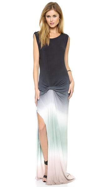 Shop Young Fabulous & Broke online and buy Young Fabulous & Broke Bryton Maxi Dress Black-Mint - This casual Young Fabulous & Broke maxi dress has a cool dip dye look and a thigh high slit. Off center ruching gathers the waist, and banding trims the scoop neckline. Sleeveless. Fabric: Jersey. 92% modal/8% spandex. Hand wash. Imported, China. Measurements Length: 65in / 165cm, from shoulder Measurements from size S. Available sizes: M,S,XS