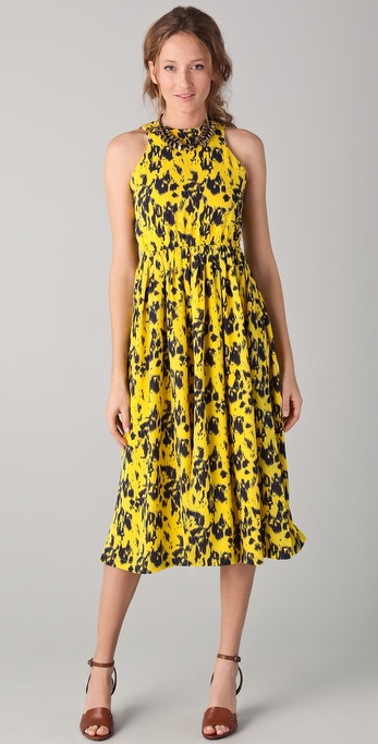 Yigal Azrouel Print Silk Midi Dress