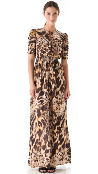 Yigal Azrouel Leopard Silk Crepe Dress