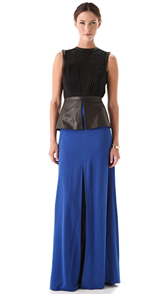 Yigal Azrouel Crepe Peplum Maxi Dress