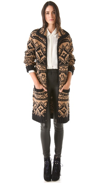 Yigal Azrouel Fair Isle Sweater Coat