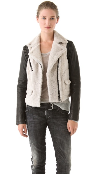 Yigal Azrouel Shearling & Leather Coat