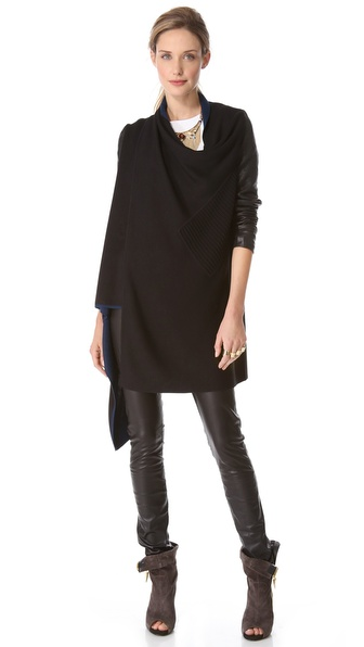 Yigal Azrouel Double Face Knit Draped Cardigan