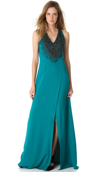 Yigal Azrouel Embroidered Georgette Gown