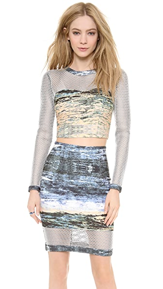 Yigal Azrouel Long Sleeve Crop Scuba Top