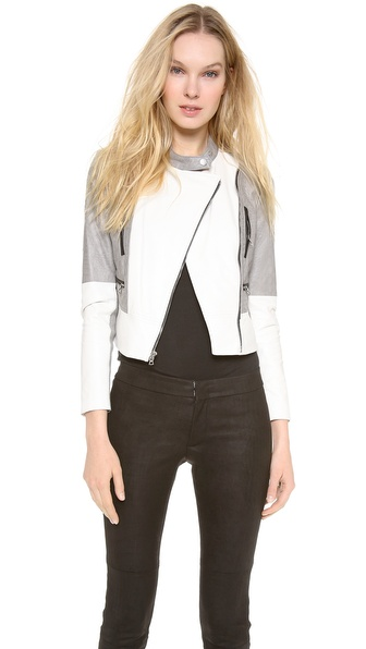Yigal Azrouel Colorblock Boxy Leather Jacket
