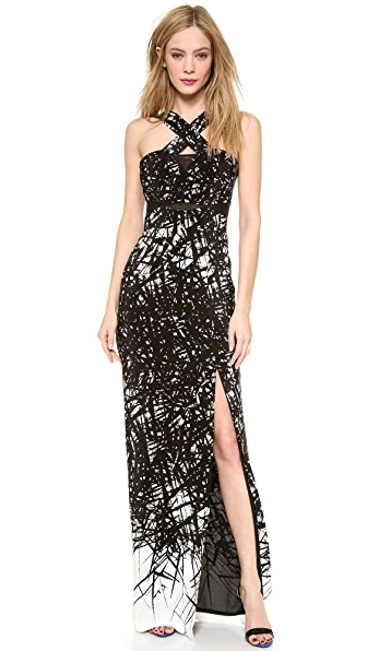 Yigal Azrouel Branch Border Print Gown