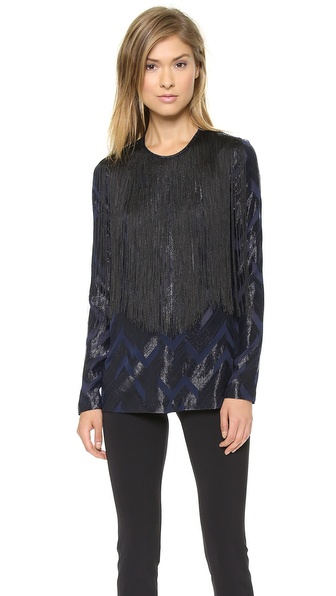 Yigal Azrouel Chevron Fringe Long Sleeve Top