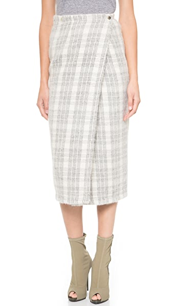 Wrap Wrap Windowpane Plaid Wrap Skirt (Silver)