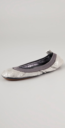 Yosi Samra Metallic Elastic Top Line Ballet Flats