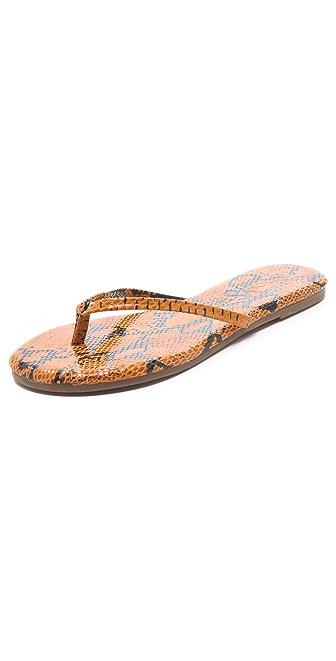 Yosi Samra Embossed Snake Flip Flops
