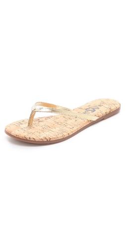 Yosi Samra Cork Flip Flops with Leather Straps