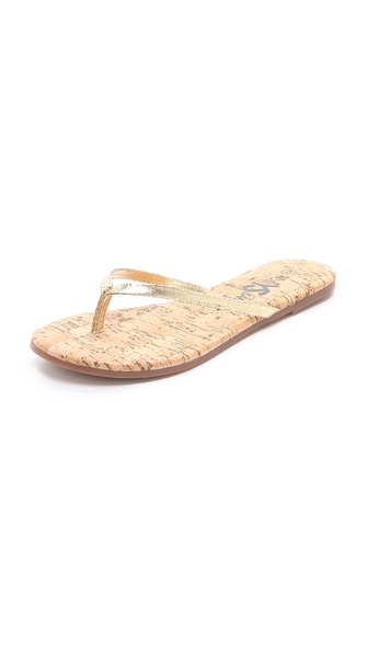 Yosi Samra Cork Flip Flops with Leather Straps