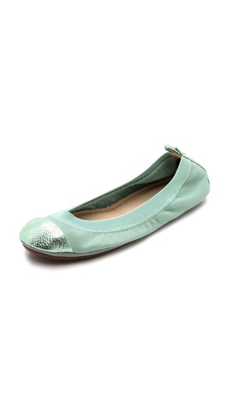 Shop Yosi Samra online and buy Yosi Samra Samantha Metallic Cap Toe Ballet Flats - Seafoam/Seafoam - All day comfort and easy to pair style are unified in these packable, split sole ballet flats. Pebbled, metallic leather panels accent the heel and toe. Soft elastic top line. Rubber sole. Packaged in a drawstring pouch. Leather: Cowhide. Imported, China. This item cannot be gift boxed. Available sizes: 9,10,11