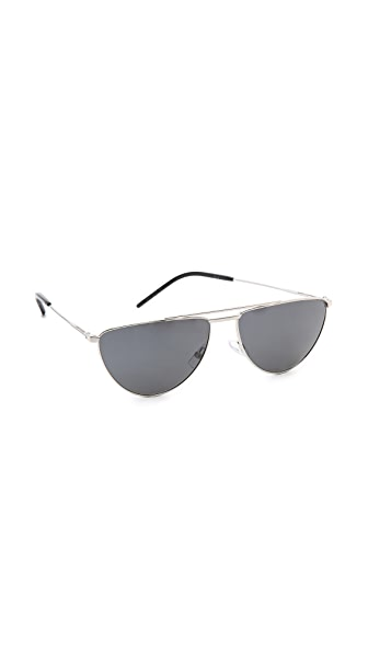 Saint Laurent Flat Top Aviator Polarized Sunglasses