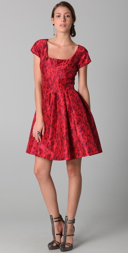 Zac Posen Short Sleeve Flare Dress