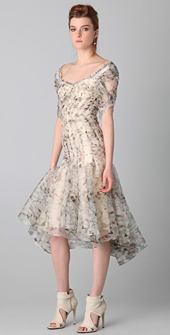 Zac Posen Print Bustier Midi Dress