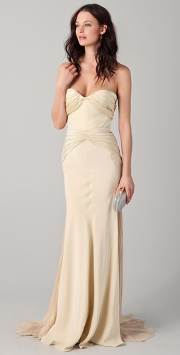 Zac Posen Duchess Strapless Satin Gown