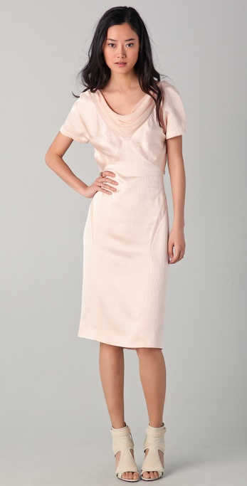 Zac Posen Short Sleeve Seamed Dress