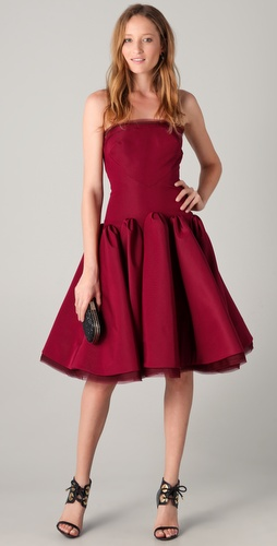Zac Posen Strapless Dress with Full Skirt