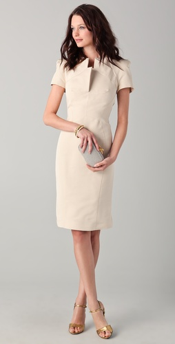 Zac Posen Short Sleeve Dress with Neckline Detail