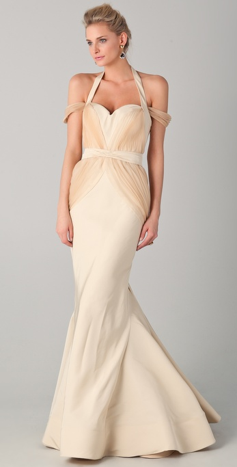 Zac Posen Off the Shoulder Gown with Halter Straps