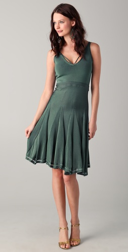 Zac Posen V Neck Dress with Full Skirt