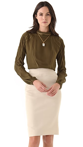 Zac Posen Silk Long Sleeve Blouse