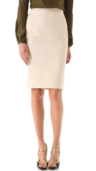 Zac Posen Faille Pencil Skirt with Printed Back Ruffle