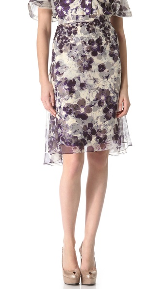Zac Posen Floral Chiffon Skirt