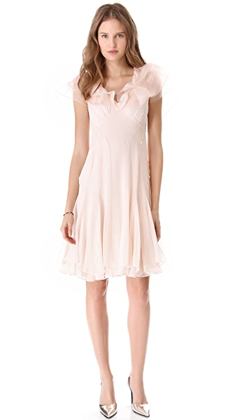 Zac Posen Silk Dress with Ruffle Sleeves
