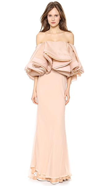 Zac Posen Silk Gown with Ruffle Bodice