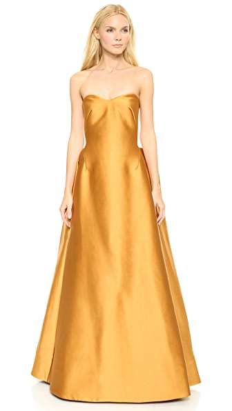 Zac Posen Stretch Duchesse Strapless Gown