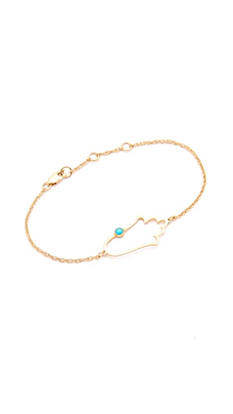 Jennifer Zeuner Jewelry Open Hamsa Bracelet with Turquoise