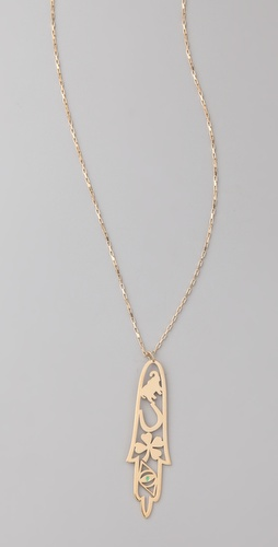 Jennifer Zeuner Jewelry Long Skinny Good Luck Hamsa Necklace