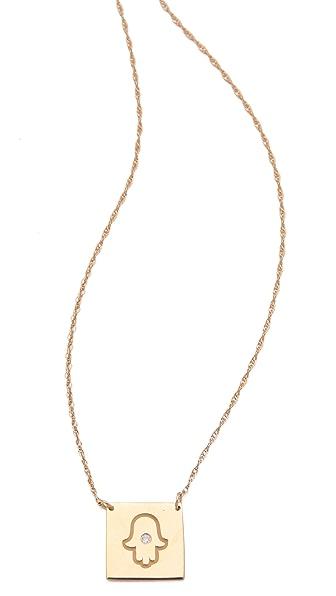 Jennifer Zeuner Jewelry Square Diamond Hamsa Necklace