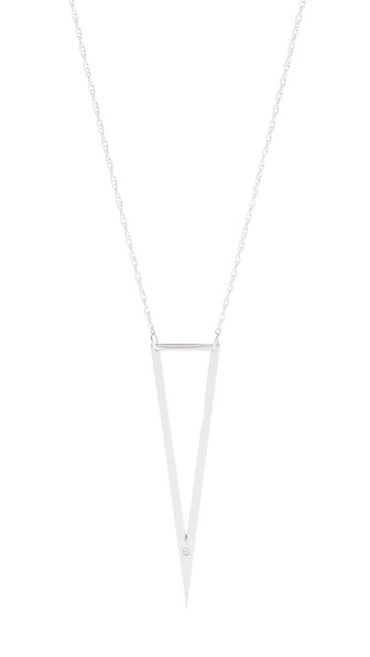 Jennifer Zeuner Jewelry Nava Triangle Pendant Necklace with Diamond