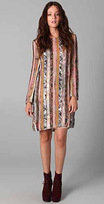 Zimmermann Mixed Print Long Sleeve Dress