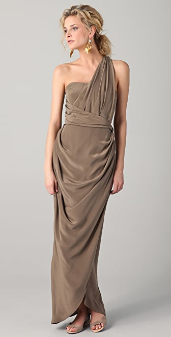 Zimmermann Silk One Shoulder Long Dress