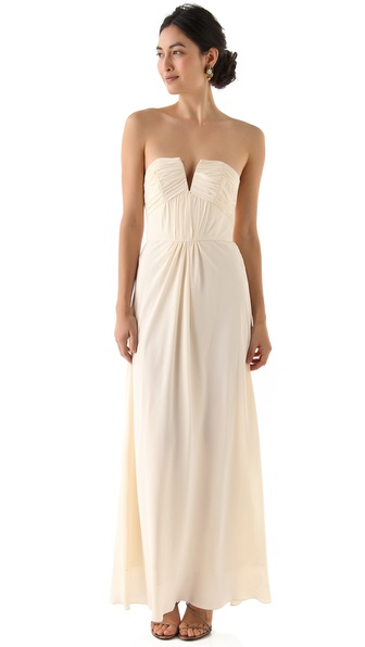 Zimmermann Ruched Strapless Gown