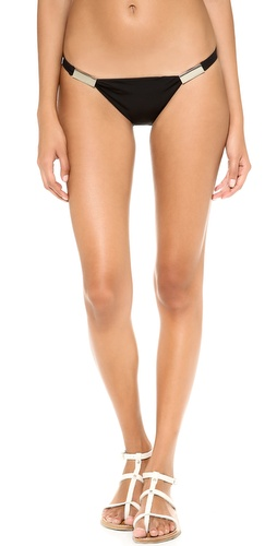 Shop Zimmermann online and buy Zimmermann Low Link Bikini Bottoms - Polished bars add hits of shine to these Zimmermann bikini bottoms. Lined front.  70% nylon/30% elastane. Hand wash. Imported, China. - Black