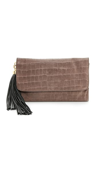ZAC Zac Posen Claudette Large Croc Embossed Fold Over Clutch