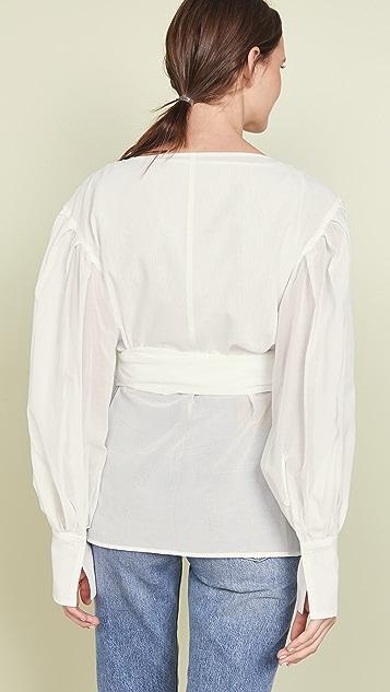Adeam 分层绑带饰带衬衫