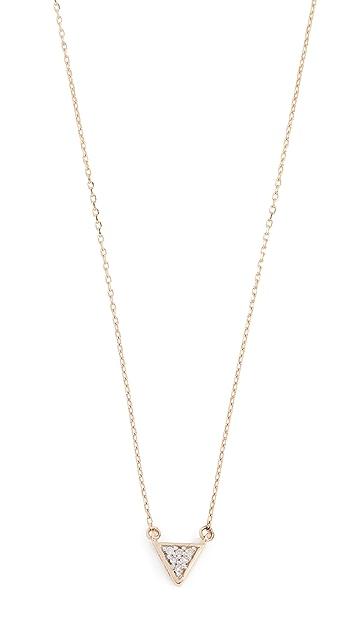 Adina Reyter 14k 超小巧纯色密镶三角形项链